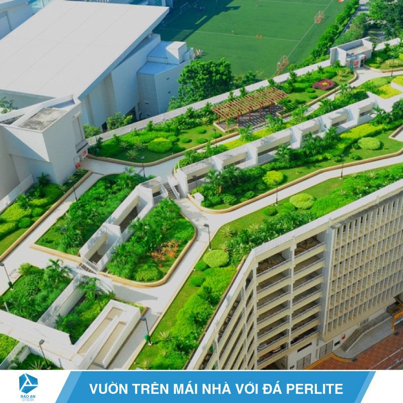 Thiết kế vườn trên mái nhà với đá Perlite
